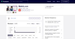 match.com rating by trustpilot
