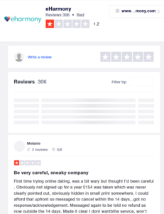 eharmony rating by trustpilot