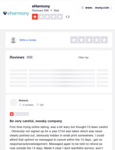 eharmony rating by trustpilot