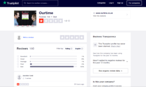 ourtime app rating by trustpilot