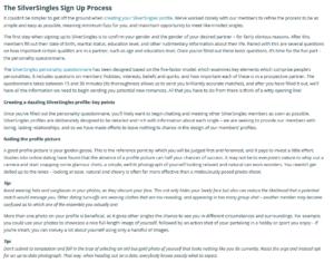 silversingles creating a profile