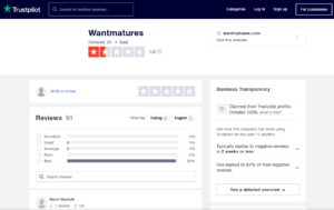 wantmatures rating by trustpilot