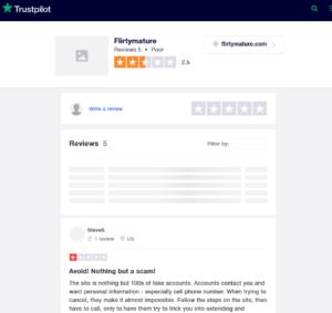 flirtmature rating by trustpilot